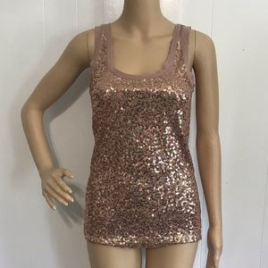 J Crew Scattered Sequin Tank Top Mauve Pink XS